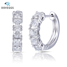 DovEggs 10K White Gold 1.5CTW 3.5mm GH Color Moissanite Diamond Hoop Earrings for Women Party Anniversary Click Top Huggie