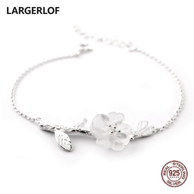 LARGERLOF Bracelet Silver Women Crystal Bracelet Handmade Fine Jewelry 925 Sterling Silver Bracelets For Women BR47020 silver 925 bracelet mens bracelets handmade star bracelet 9mm