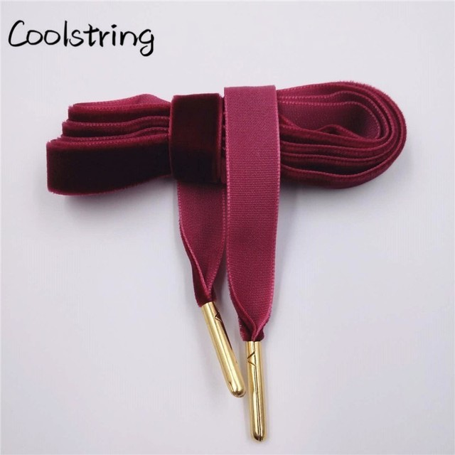 Coolstring 60-180cm longueur 1.27 Cm largeur velours Surface lacets femmes hommes noir blanc coloré sport bottes décontractées chaussures lacets