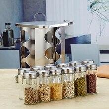 12 צנצנות & 1 סט נירוסטה קל לשימוש רוטרי תיבול צנצנת תיבול מיכל Seasiong מחזיק עבור קינמון