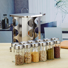 12 Jars & 1Set Spice Rack Stainless Steel Easy to Use Rotary Seasoning Jar Seasoning Container Seasiong Holder for Cinnamon