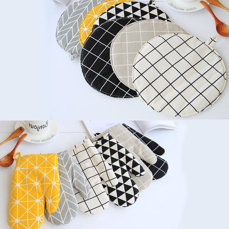 1 Piece Cute Non slip Yellow Gray Cotton Fashion Nordic Kitchen Cooking microwave gloves baking BBQ potholders Oven mitts|Oven Mitts & Oven Sleeves| |  - title=