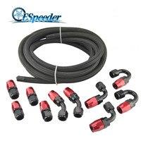 ESPEEDER AN4/6/8/10 Oil Fuel Fittings Aluminum 0+45+90+180Degree Hose End Adaptor+Nylon Braided Oil Fuel Hose Line 5M JDM
