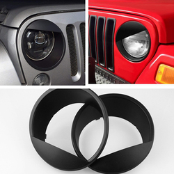 2pcs JDM Stickers Black Bezels Front Light Headlight Angry Bird Style Trim Cover for Jeep Wrangler JK JKU Rubicon Sahara 2007-18