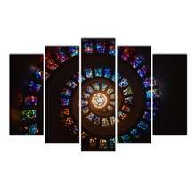 Canvas Wall Art Modular Pictures Printed Paintings 5 Pieces Stained Glass Custom Print Living Room Wall Art Home Decor Frame