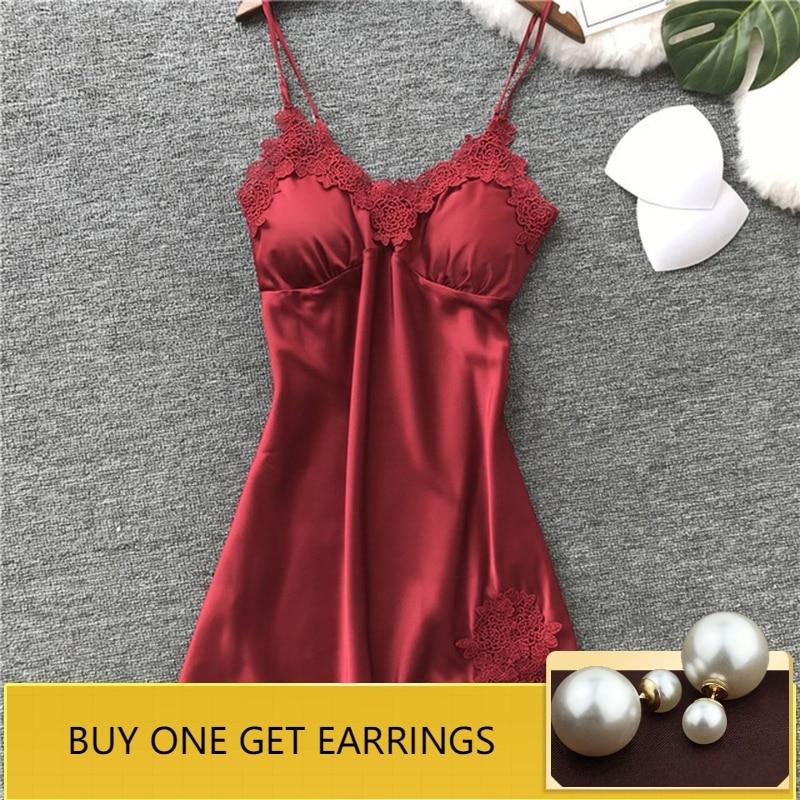 QWEEK   Nightgowns   &   Sleepshirts   Sleep Lounge Satin Sleepwear Women Sexy Ladies Nightwear Nightdress Women Lingerie with Chest Pad