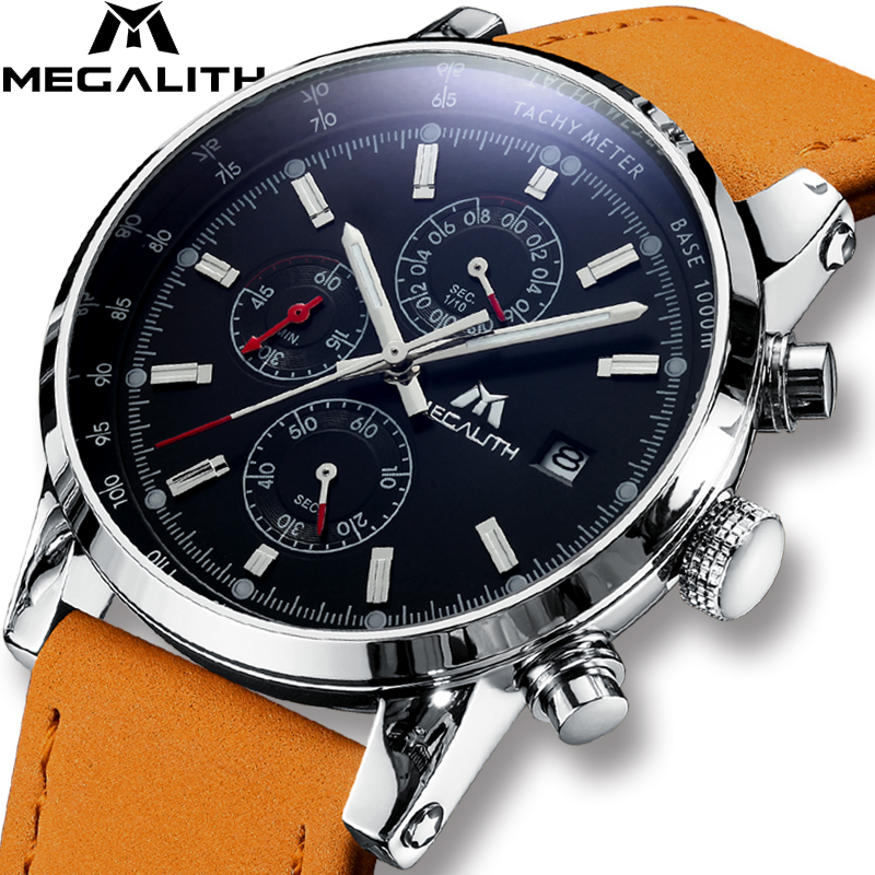 MEGALITH Mens Watches Military Sports Waterproof Chronograph Date Casual Simple Business Brown Leather Quartz Watch Men ClockMEGALITH Mens Watches Military Sports Waterproof Chronograph Date Casual Simple Business Brown Leather Quartz Watch Men Clock