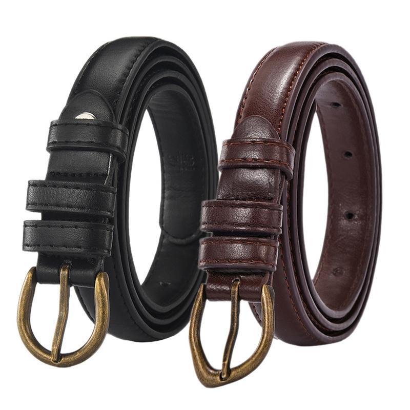 2018 New Simple Cute Korean Style Black Khaki Faux PU Leather   Belt   Female Vintage Buckle   Belts   For Women Thin   Belt   High Quality