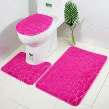 Три штуки рельефный фланелевый Набор ковриков для ванной водопоглощающая u-образная Ванна коврики для унитаза ковры крышка сиденья для унитаза