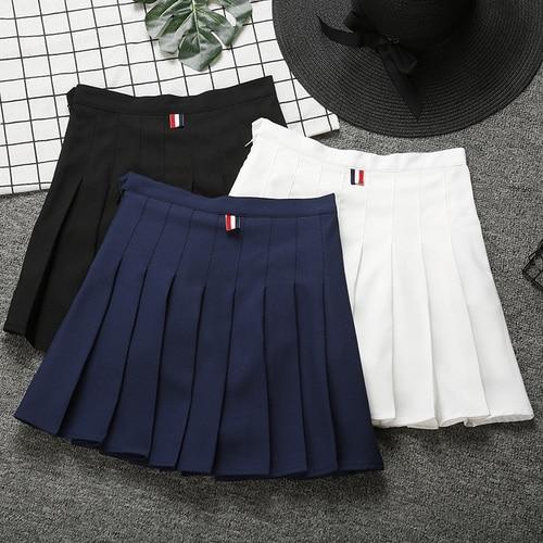 3f769f4292 Skirts Womens 2019 Summer England Style Colorful Ribbon High Waist Pleated  Skirt Black White Skater Skirt Shorts Saias B147