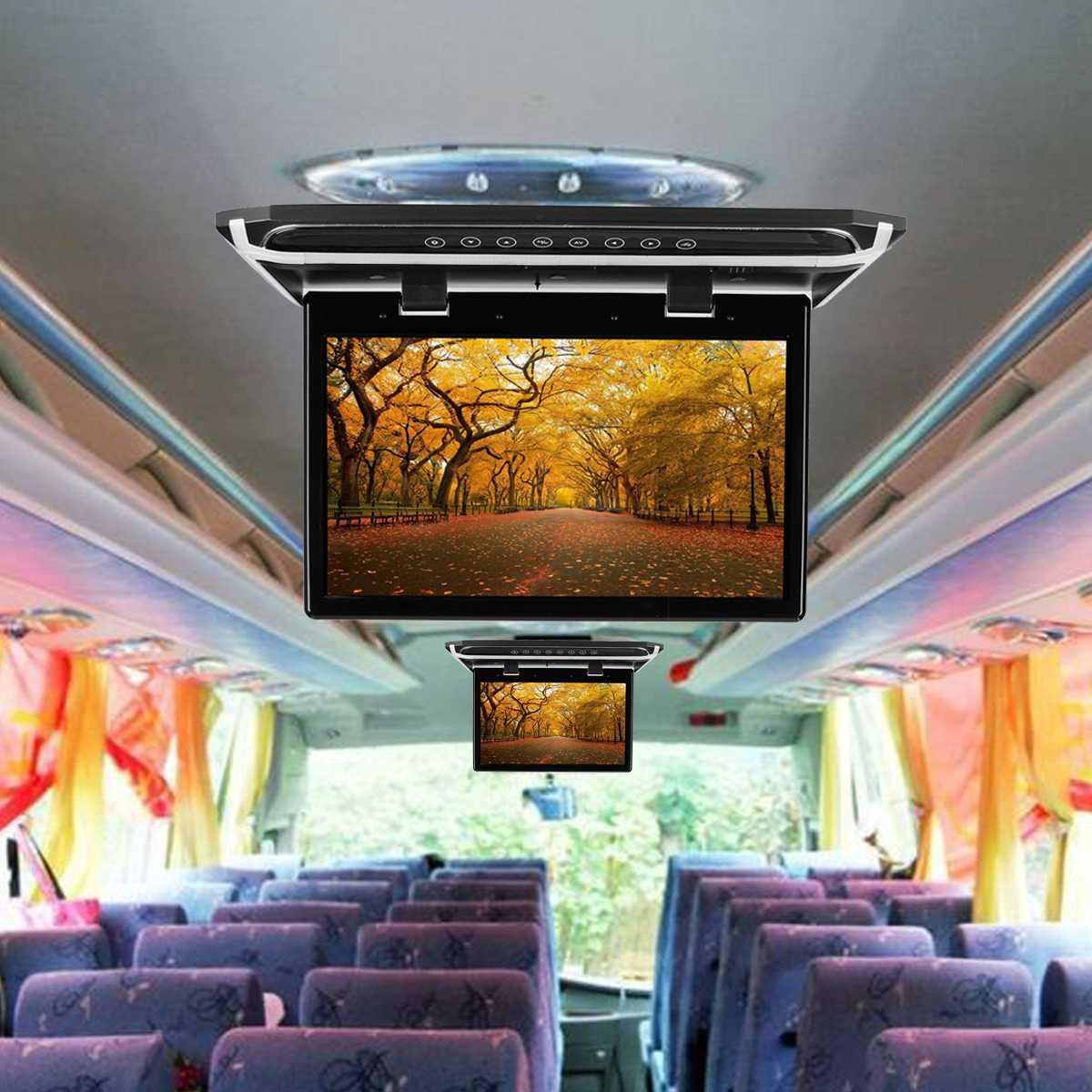Reproductor de DVD de pantalla ancha HD de 15,6 pulgadas para coche, reproductor de montaje en techo de coche HDMI abatible hacia abajo para Monitor 1920*1080