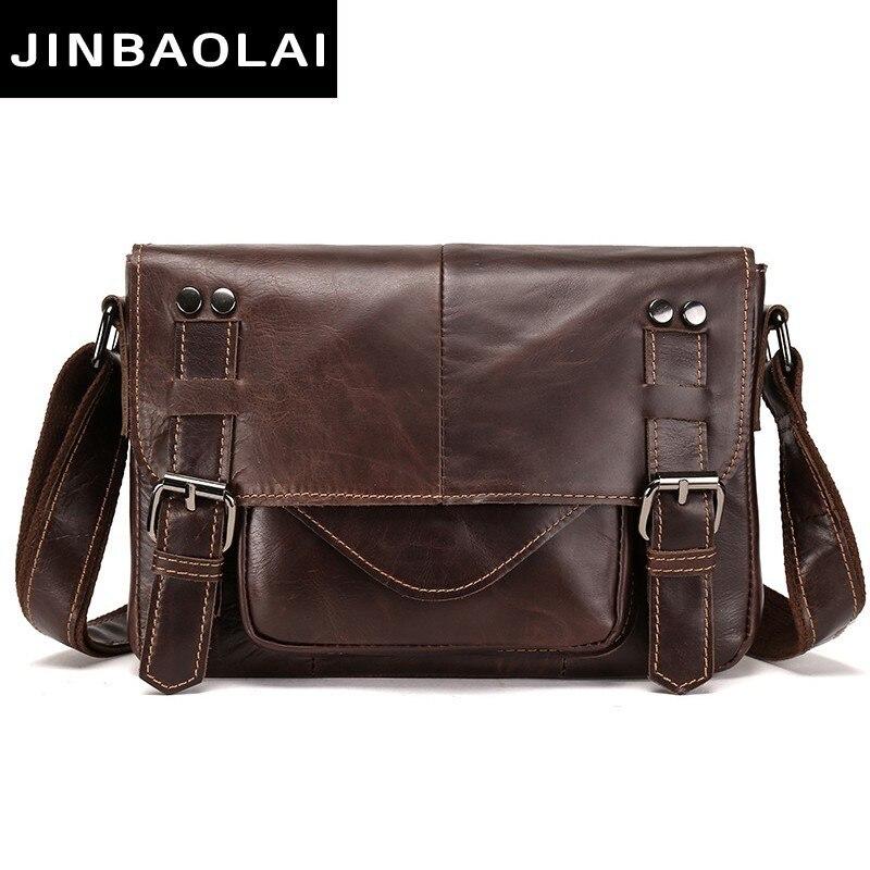Messenger Bag Genuine Leather Shoulder Bag For Men s Bags Male Vintage Zipper Design Man Crossbody