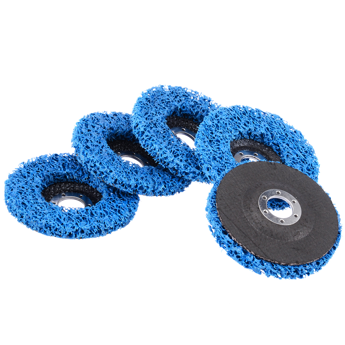5pcs Abrasive Tools 110mm Poly Strip Wheels Paint Rust Removal Clean Angle Grinder Discs Blue цены