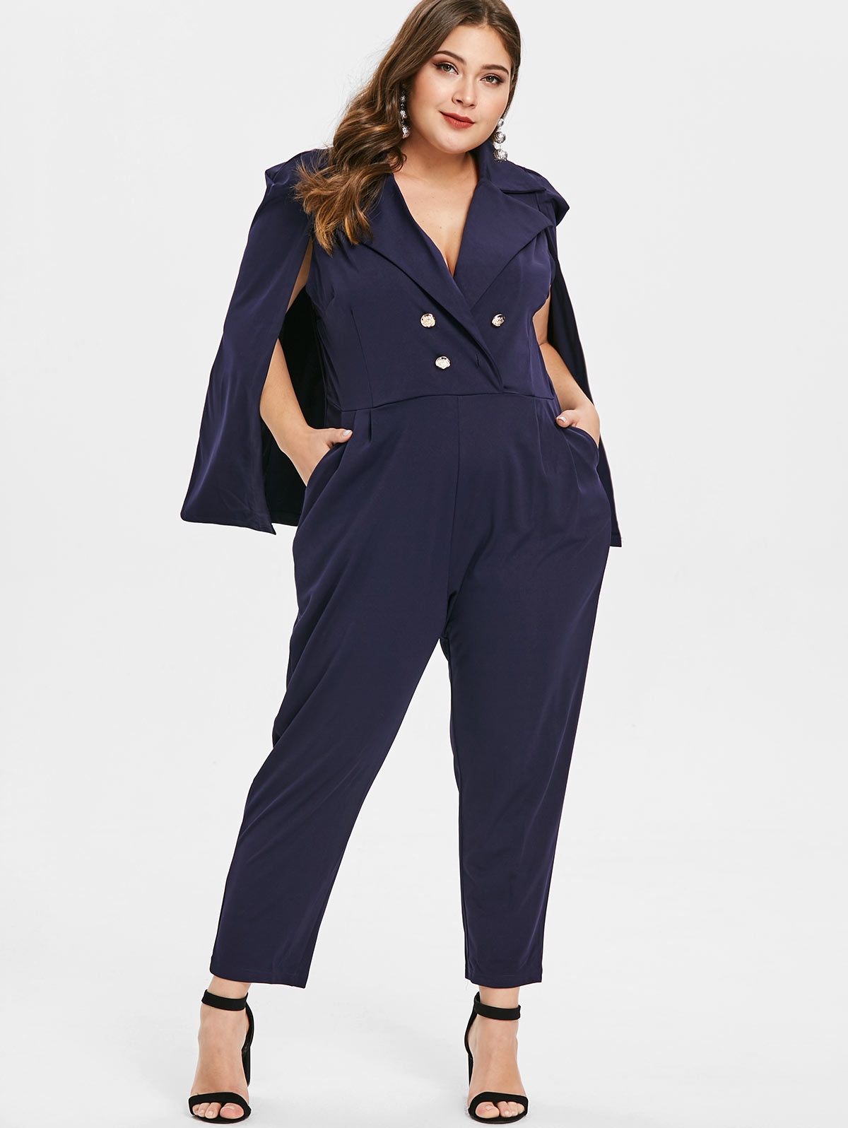 Wipalo Women Plus Size Double Breasted Cape Jumpsuit Plunging Neck Solid OL Jumpsuit Casual Spring Ladies 4XL Big Size Rompers