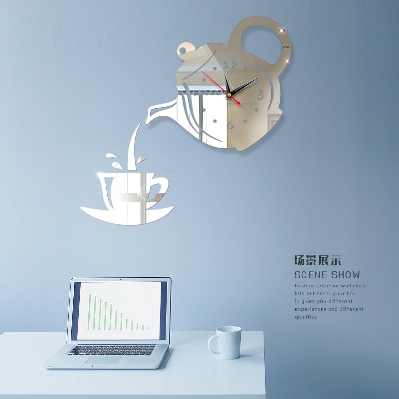 Coffee Teapot DIY 3D Number Wall Clock Mirror Sticker Home Office Decor Art Design Room Modern Design Silent Clock