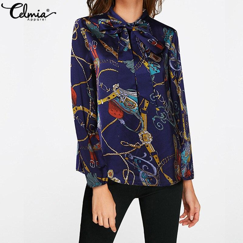 Celmia Elegant Office Ladies Blusas Mujer 2019 Summer Print Chiffon Blouse Women Bow Casual Long Sleeve Top Work Shirt Plus Size