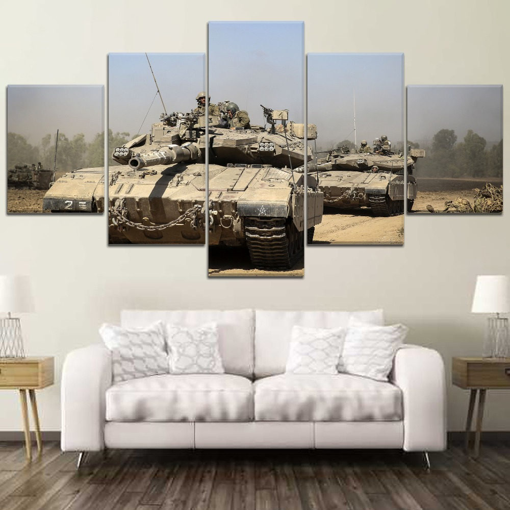 5 Panel Tank war Canvas Printed Painting For Living Room Wall Decor HD Picture Artworks Poster3 in Painting Calligraphy from Home Garden