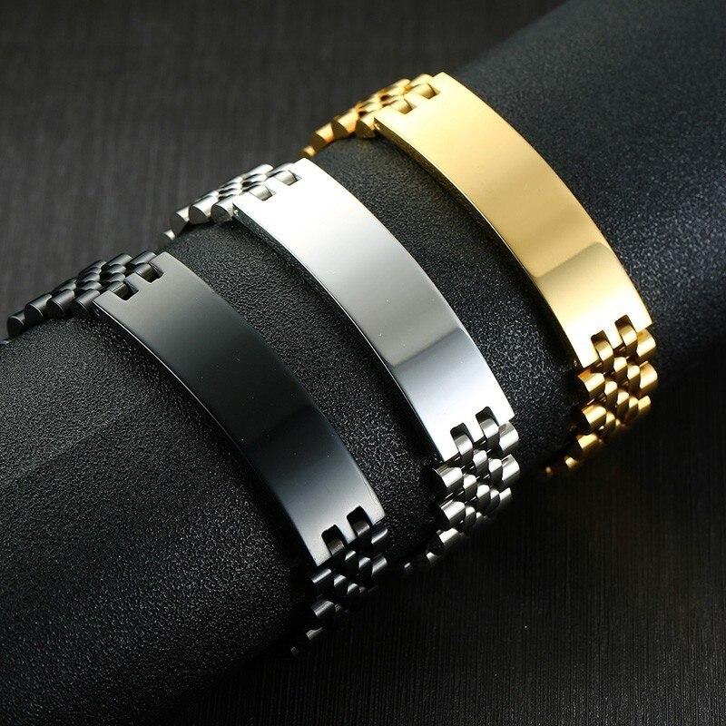 Mens Free Custom Engraving 21.5cm Bracelets Stainless Steel ID Wrist Bracelets Bangles  for Him pulseira masculina