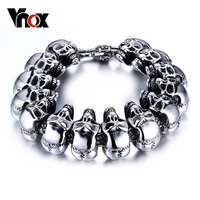 Vnox Cool Skull Men Bracelet Jewelry Stainless Steel Skeleton Chain Heavy Puck Jewelry 8.5 Halloween Undead Decorations
