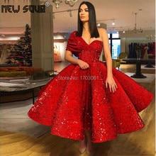 אדום יוקרה מוסלמי ערב שמלות מבריק דובאי עיצוב נשף שמלות תורכי בעבודת יד אחת כתף ערבית תחרות שמלה