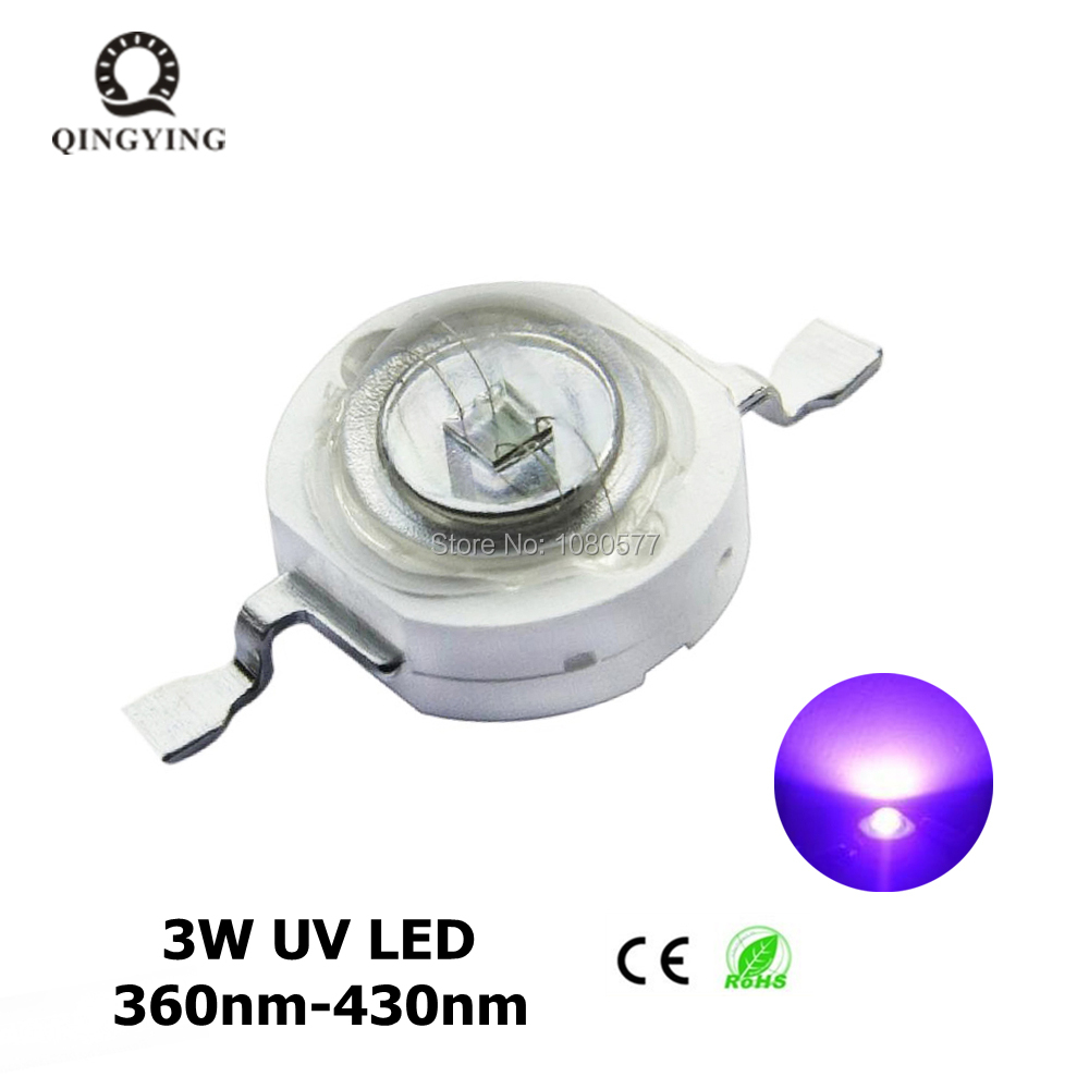 10pcs-100pcs 3W UV High Power LED Light Beads Ultra Violet Purple LED Chip 360nm 365nm 370nm 380nm 390nm 395nm 400nm 405nm 430nm