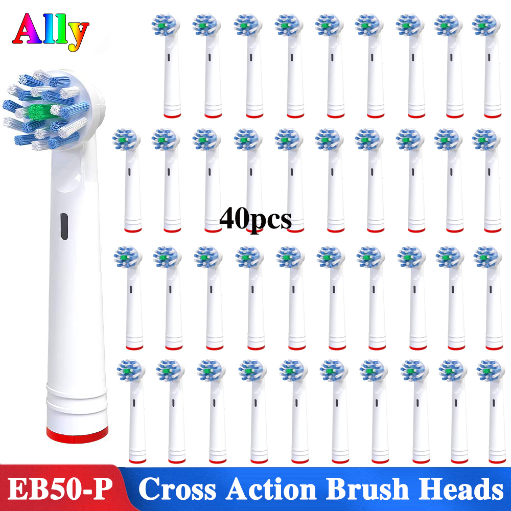 40pcs EB50 Electric toothbrush heads Cross Action Replacement Brush Heads For Oral B Triumph Vitality D18 D19 Toothbrush