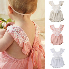 476b2d60c9e2 Newborn Baby Romper Girls Floral Lace Tassel Cotton Outfit Ruffles  Sleeveless Jumpsuit Summer Infant Girl Casual