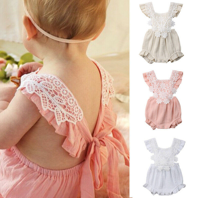0b78f82c921c Newborn Baby Romper Girls Floral Lace Tassel Cotton Outfit Ruffles Sleeveless  Jumpsuit Summer Infant Girl Casual Holiday Clothes