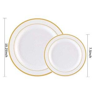 Image 2 - Vàng Dùng Một Lần Ô Món Tráng Miệng/Món Khai Vị đĩa với Viền Vàng Thực Trung Quốc Nhìn cho Đám Cưới, Các Đảng Phái, phục vụ ăn uống, Sinh Nhật