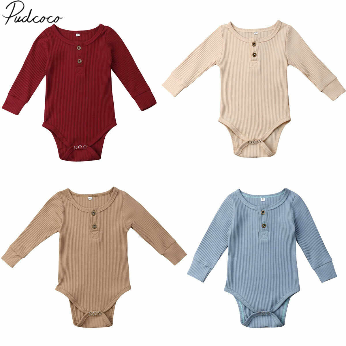 2020 Brand New Newborn Infant Baby Girl Boy 늑골이있는 바디 슈트 Ruffle 원피스 Solid Jumpsuit Long Sleeve Outfits Spring Sunsuit