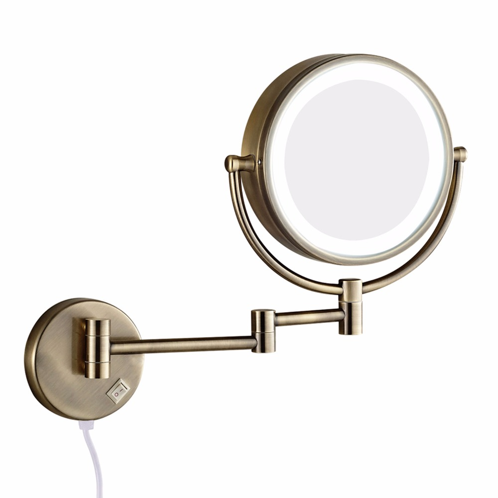 Makeup Mirror.Us 96 3 10 Off Gurun Bath Wall Makeup Mirror With Led Lights And 10x Magnifying Dual Extend Arm Folding Shaving Mirrors Dual Sided Antique In Makeup