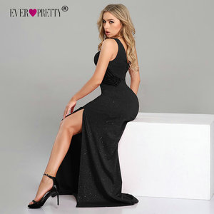 Image 5 - סקסי שמלות נשף ארוך פעם די EP07780 2019 חדש הגעה שרוולים רגל סדק בת ים שחור Sparkle Robe דה Soiree