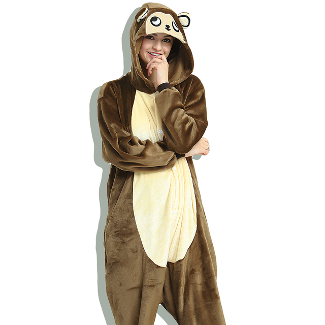 e7c65bbf5a Dropshipping Unisex Adult Men Women One Piece Pajamas Halloween Animal  Character Brown Monkey Onesie Sleepwear Funny Fleece
