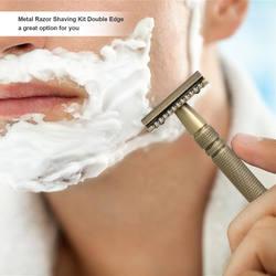 Набор для бритья с двойным краем, безопасная бритва с подставкой, набор инструментов для удаления бороды/усов