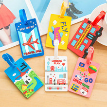 Hot Silicone Baggage Label Travel Accessories Suitcase Ge Identifier Kawaii Cartoon Popular ID Address Holder Luggage Tag 1PC(China)