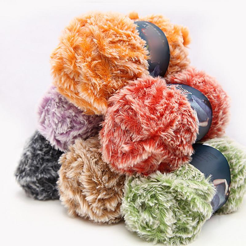 Gamuza de piel imitación visón lana pluma Hilo de lana de visón lana larga  hilo hecho a mano de DIY hilo de lana en Hilado de Hogar y Jardín en ... 3dfcada5625