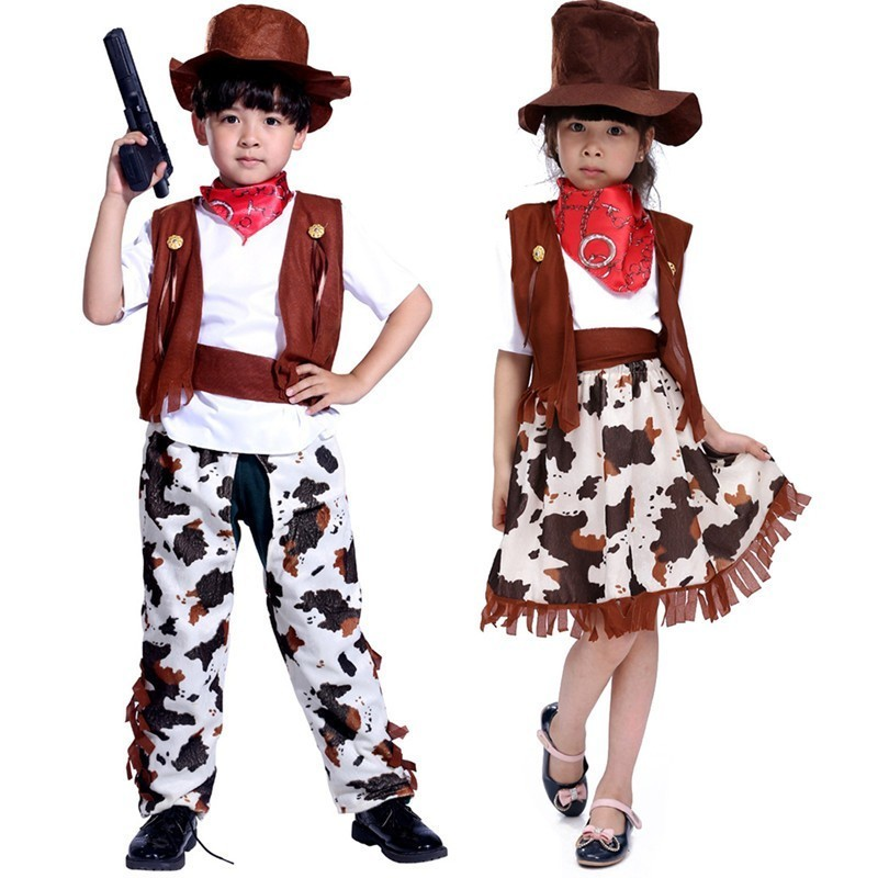 Halloween Costume For Children Boy Girl Cosplay Western America Cowboy Cowgirl Clothing Set Carnival Dress Up Masquerade Clothes
