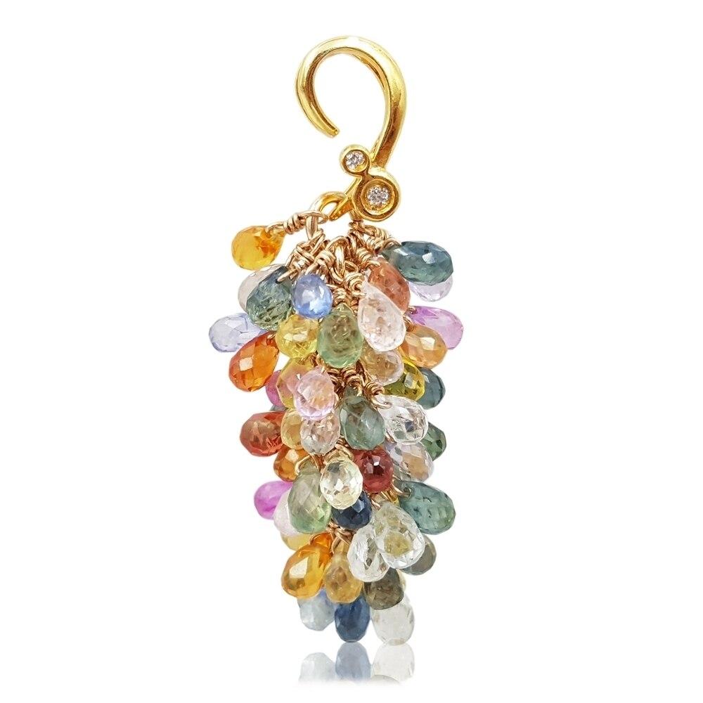 Lii Ji Rainbow Sapphire Jewelry Set Natural Gemstone 925 Sterling Silver 18K Gold Plated Earring Pendant Handmade Jewelry Set - 2