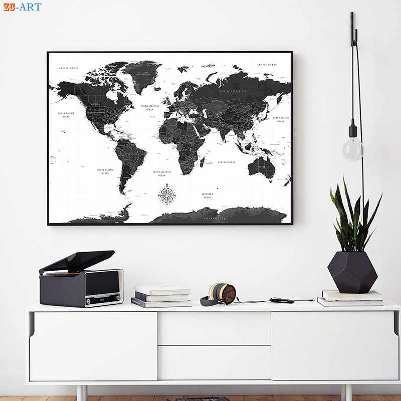 Large Posters and Prints World Map Canvas Painting on The Wall Art Decoration Picture for Living Room Office Decor No Frame