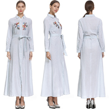 Long Sleeve Stripe Embroidery Maxi Shirt Dress Hem Split Women Dress Self Tie Shirt Maxi Dress