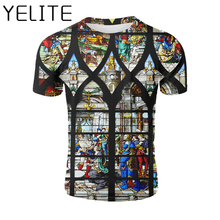 YELITE Holy Writ  Printed T Shirt Virgin Mary Tshirt Biblical Cuture Wallpaper Vintage T-shirt Casual Short Sleeve Tops