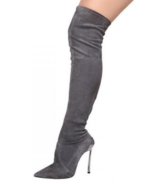 as Métal Cuissardes Boot Sexy Bottes De Or En Picture 10 Longues Bout Taille Daim Pointu Pour Talons Winter Femmes Long Picture Noir Grande As Ht8tqB