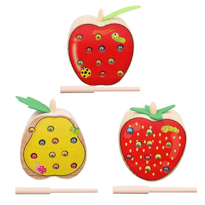 Funny Kids Magnetic Stick Catch Worm Game Blocks Toys Baby Wooden Fruit Shape Cognitive Fishing Toy Children Colorful Catch Toys image