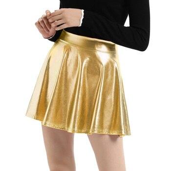 941f227919 Nuevo 2018 Otoño Invierno Mini Falda plisada de las mujeres Suede sólidos  colores Multi alta cintura escuela niñas femeninas Falda Skater