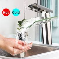 Modern Glass Waterfall Bathroom Faucet Chrome Brass Basin Sink Mixer Tap Single Handle Water Faucet Cold And Hot Deck Mounted