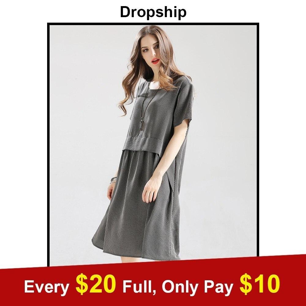 Dropsihp 2019 Hot Sale Summer Womens Fashion Basic Black Dress Ladies Solid O Neck Casual Loose Tops Dress Plus Size Vestido