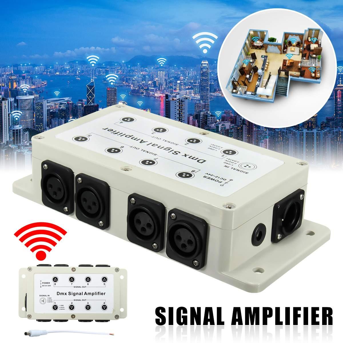 DC12-24V 8 Channel Output DMX DMX512 LED Controller Signal Amplifier Splitter Distributor For Home Equipments