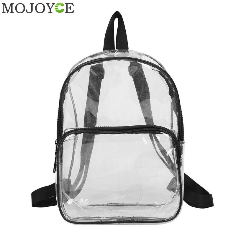 Unisex Waterproof Clear Transparent PVC Backpack For Adults And Students Women School Bags Knapsacks Shoulder Bags