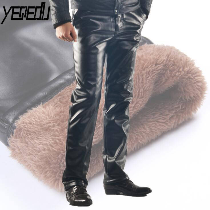 #2203 Winter Thick Warm Faux Leather Pants For Men Plus Size PU Leather Fleece Pants Fashion Motorcycle Joggers Windproof 29-46