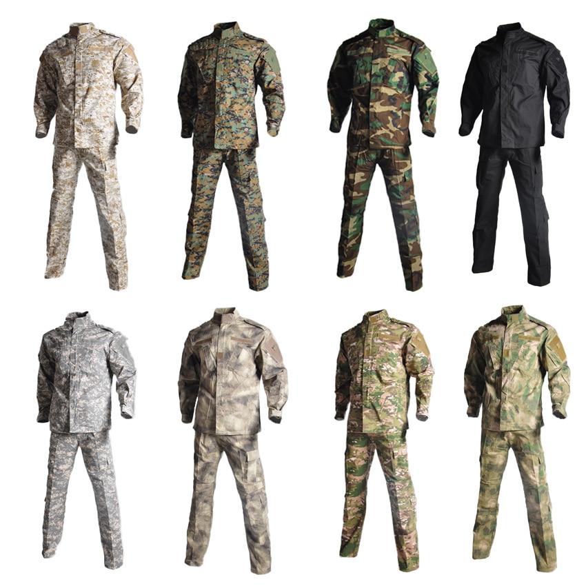 2 Pcs Combattimento Giacca + Pantaloni Tattica Di Camuffamento Uomo Manica Lunga Tattici Di Caccia Militari Uniforme Di Sicurezza Squadra Di Usura Per Il Maschio Ottima Qualità